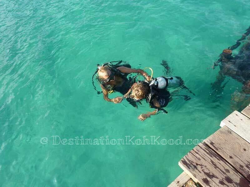 Free try dive by Koh Kood Divers at the pier of Koh Kood Resort - Bang Bao Bay